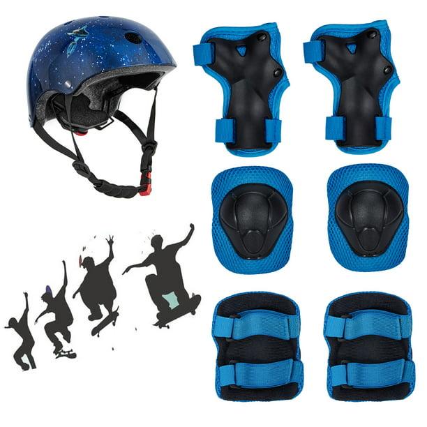 Kid/'s Skateboard Longboard Helmet Knee /& Elbow Pads Wrist Guard Combo SET Blue