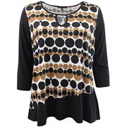 Women's Plus-Size Polka Dot Asymmetrical Keyhole Front Fashion Blouse Tee Shirt Knit Top Brown 2X G160.26L