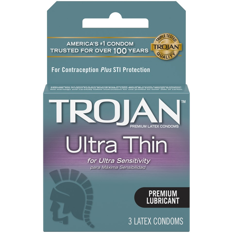 (12 Pack) Trojan Sensitivity Ultra Thin Lubricated Latex Condoms - 3 ct