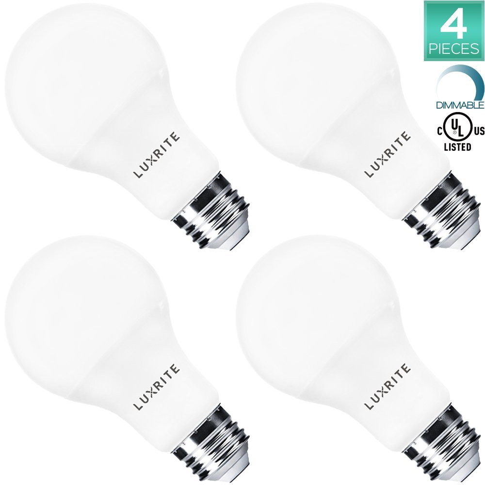 Pack of 4 Luxrite LED Light Bulb 100W Equivalent, 14W A21 Bulb, 5000K Bright White, 1500 Lumens, Dimmable, 100 Watt Light Bulb, UL Listed, Damp Rated, E26 Base