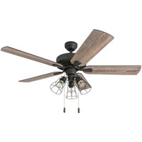 Prominence Home 50586-35 Inland Seas Farmhouse 52-Inch Aged Bronze Indoor Ceiling Fan, Cage LED Cage Barnwood/Tumbleweed Blades