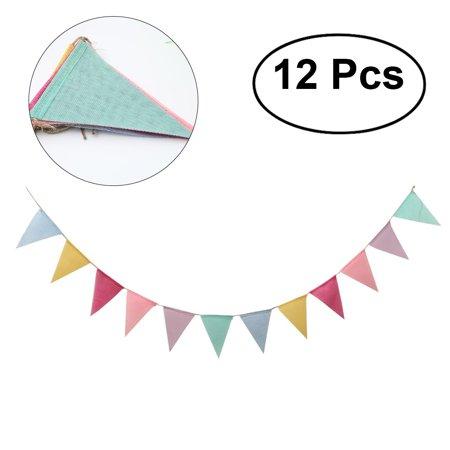 12pcs Simulation Hessian Burlap Banner DIY 6 Color Pennant Banner Decoration for Wedding Birthday Party - Diy Birthday Banner