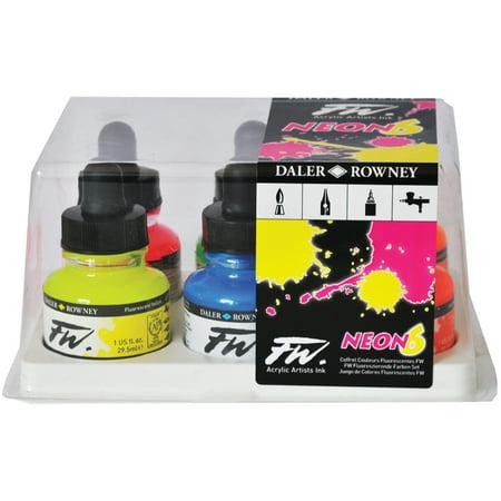 Daler-Rowney FW Acrylic Artists Ink Set, Fluorescent - Artists Acrylic Colour