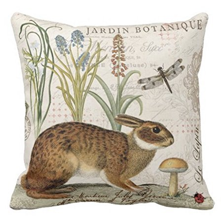 Popeven Pillow Cover for Sofa Vintage French Rabbit Accent Pillows Decorative Zippered Pillow Sham 18x18''Home -