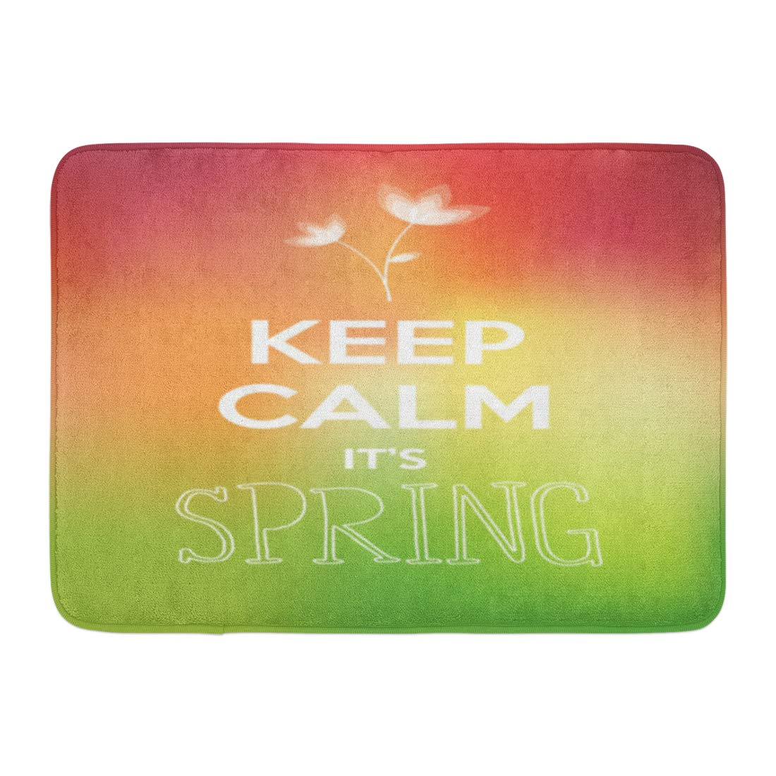 GODPOK White Blossom Green Aura Keep Calm It's Spring Pink Blooming Blurry Rug Doormat Bath Mat 23.6x15.7 inch