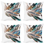 Feathers Throw Pillow Cushion Case Pack of 4, Vaned Types and Natal Contour Flight Bird Feathers and Animal Skin Element Print, Modern Accent Double-Sided Print, 4 Sizes, Teal Brown, by Ambesonne