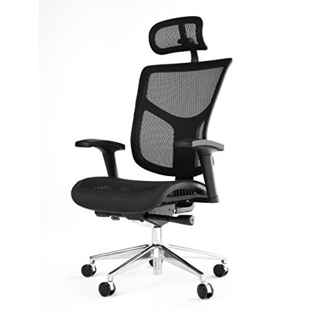 Strange Office Factor Ergonomic Adjustable Office Chair Executive High Back Chair With Headrest Seat Slider Swivel Chair Black Mesh With Aluminum Base Alphanode Cool Chair Designs And Ideas Alphanodeonline