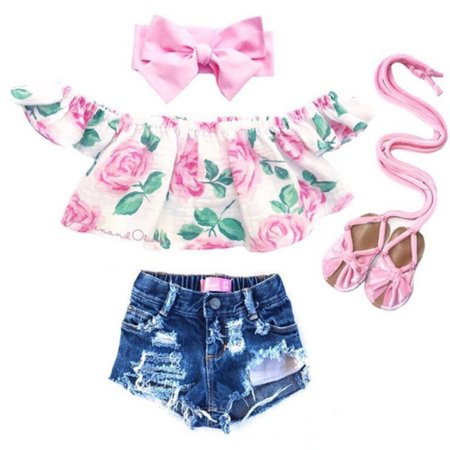 2PCS Toddler Kids Baby Girl Summer Clothes Off Shoulder Flower Tops Denim Ripped Shorts Outfits (Flower Power Outfits)