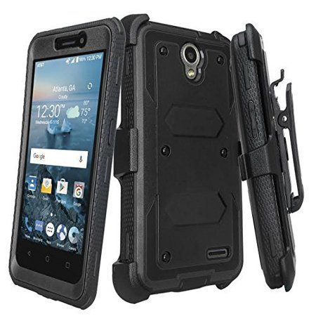 ZTE ZMAX Grand LTE Case, ZTE ZMAX Champ Case, ZTE Avid 916 Case, ZTE Warp 7 Case, ZTE Grand X3 with [Built In Screen Protector] Full-Body Rugged Holster Kickstand Case [Belt Swivel Clip]