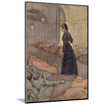 Black Wheelhouse - In Scutari Florence Nightingale Checks Patients During the Night Wood Mounted Print Wall Art By M.v. Wheelhouse