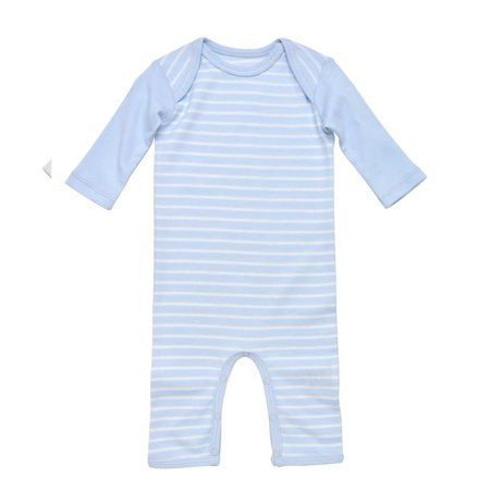 3210ff81ab Under The Nile - Under The Nile Baby Boy Organic Cotton Pale Blue Stripe  Lap Shoulder Romper - Walmart.com