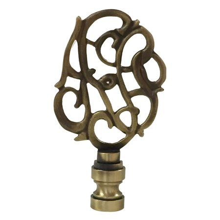 Royal Designs Hand Carved Caste Floral Lamp Finial for Lamp Shade- Antique