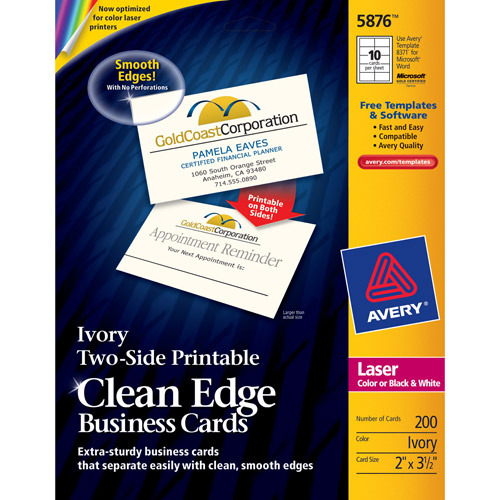 Avery Laser Two-Side Printable Clean-Edge Business Card 5876, 2-Sided, Ivory, 200-Count