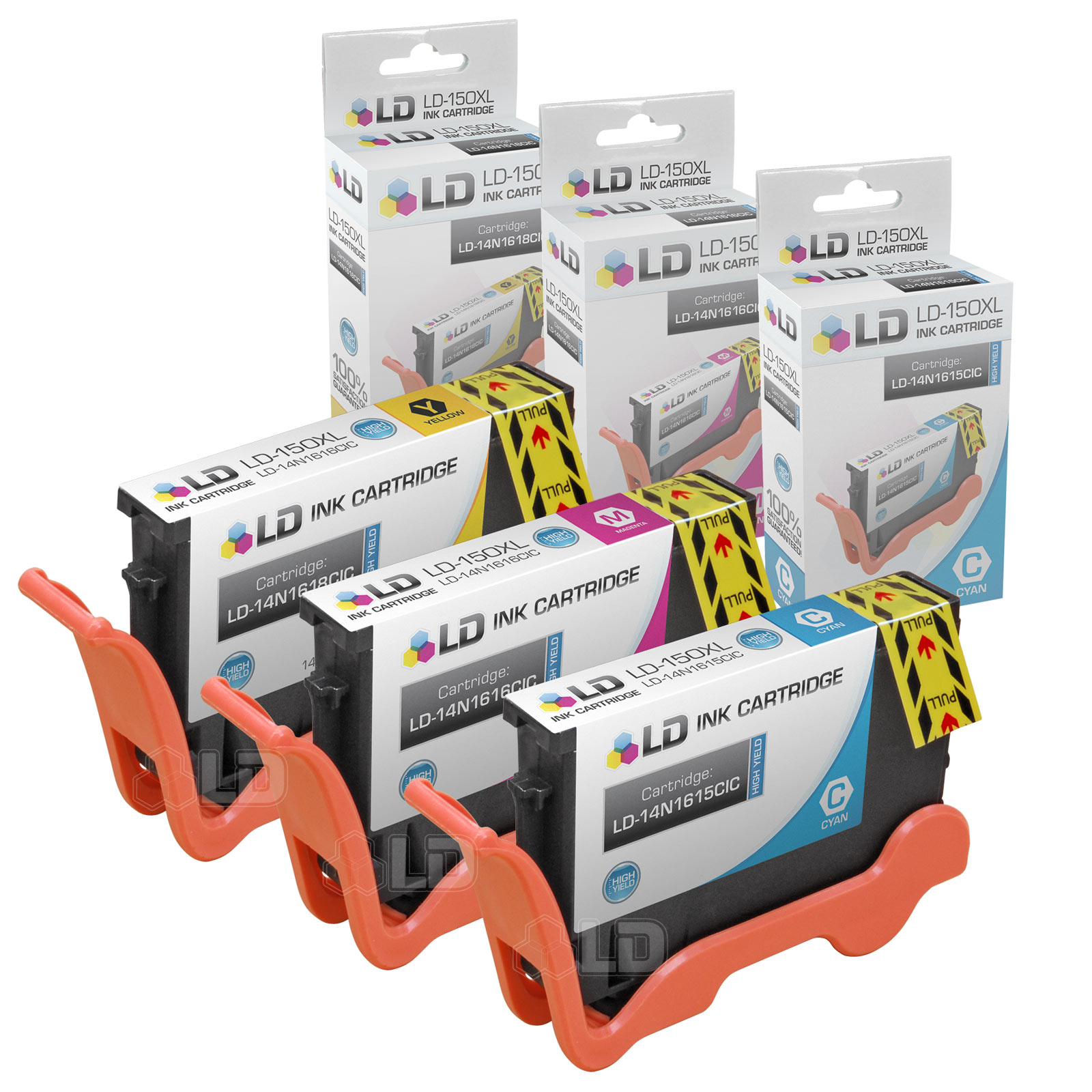 LD Compatible Lexmark 150XL / 150 Set of 3 High Yield Color Inkjet Cartridges: 1 Cyan 14N1615, 1 Magenta 14N1616 and 1