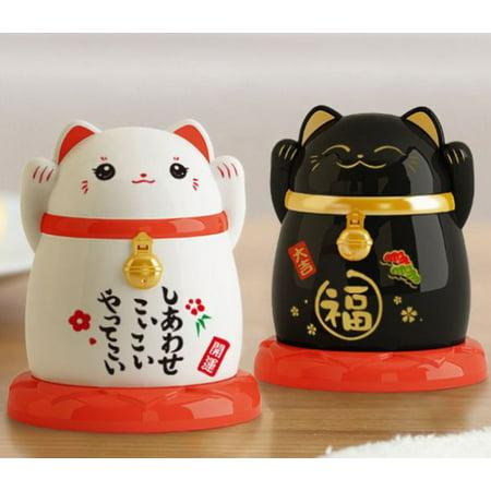 Set of 2 Toothpick Dispenser Holders  Maneki Neko Japanese Black & White Lucky Cats Design
