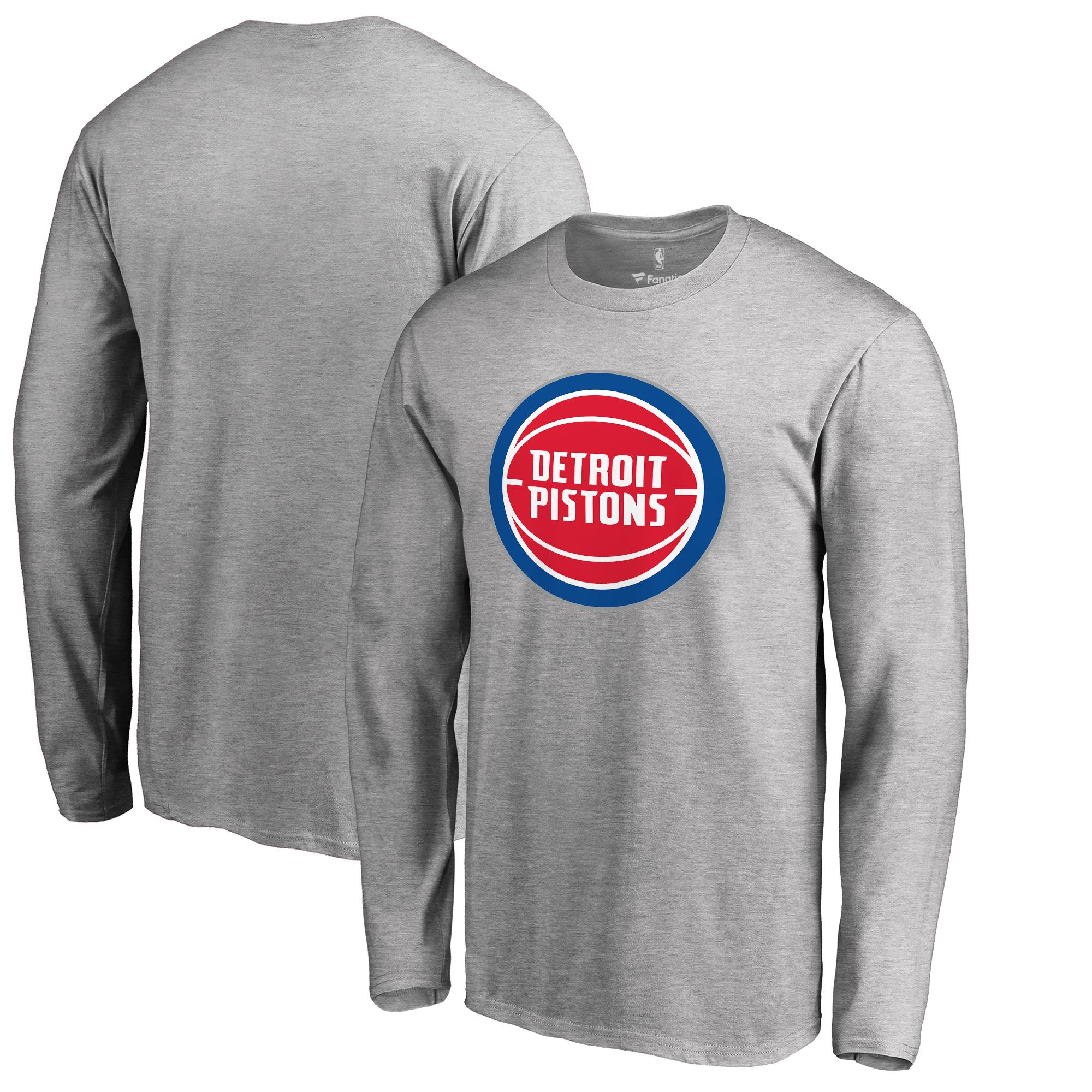 Detroit Pistons Fanatics Branded Primary Logo Long Sleeve T-Shirt - Heather Gray