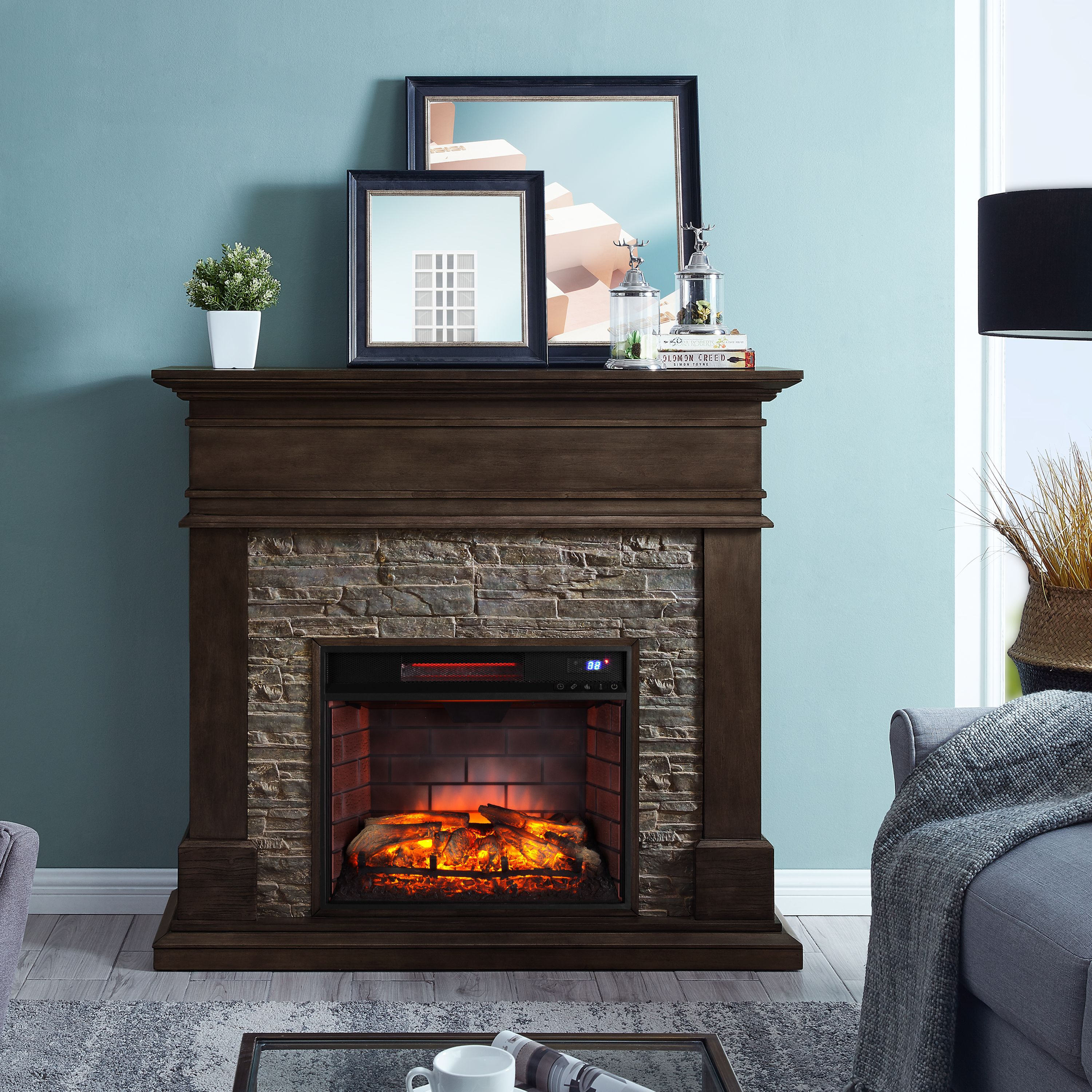 Kolman Faux Stone Fireplace, Traditional , Smoked Ash