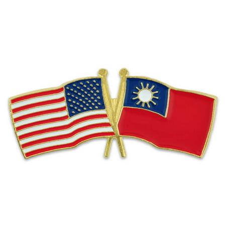 PinMart's USA and Taiwan Crossed Friendship Flag Enamel Lapel Pin - Usa Flag Pin