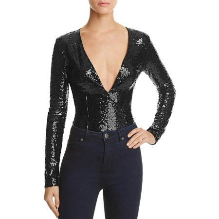 Rehab Womens Sequined Long Sleeve Bodysuit