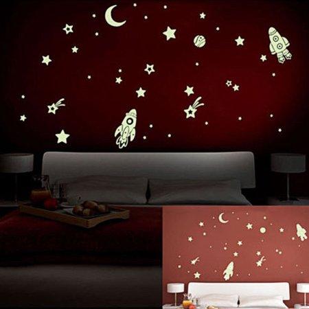 DIY Luminous PVC Wall Sticker Glow In The Dark Space Stars Planet Rocket