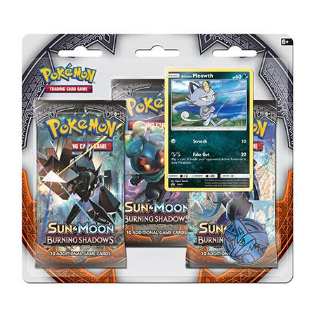 Pokemon TCG - Burning Shadows 3-Pack Blister featuring Alolan Meowth - Shadow Tag Pokemon