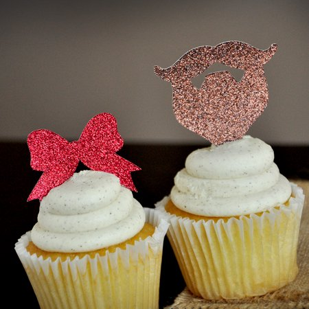 Gender Reveal Party Decor. Ships in 1-3 Business Days. Beards or Bows Cupcake Toppers 12CT.](Gender Reveal Cupcake Toppers)