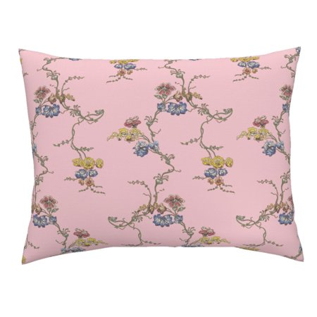 Georgian Historical Pink Reproduction Floral Pillow Sham by Roostery