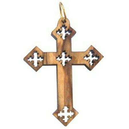 Olive wood Coptic Cross Laser Pendant(4.3x3.1 cm or - Coptic Cross