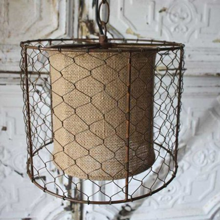 Event decor pendant light lamp rustic chicken wire shade with burlap event decor pendant light lamp rustic chicken wire shade with burlap center brown keyboard keysfo Images