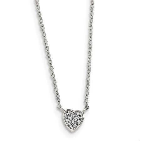Sterling Silver 16in Polished Heart with CZ (16in Heart)