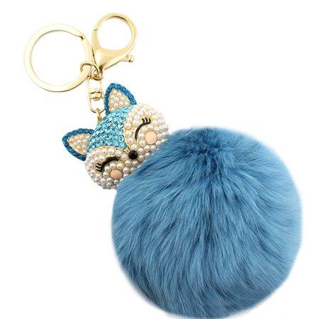- Rhinestone Kitty Face Pom Pom Keychain Purse Charm Turquoise