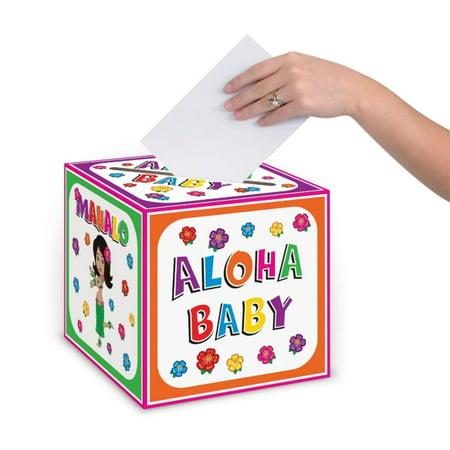 Pack of 6 Hawaiian Theme Luau Party Mahalo, Hula and Aloha Baby Shower Decorative Card Box 9