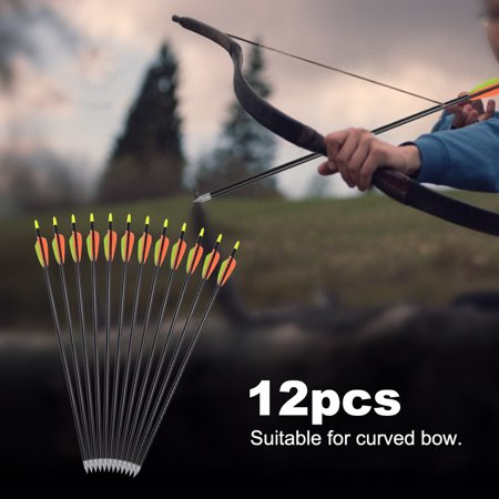 Anauto 12pcs 20inch Aluminium Alloy Arrow Compound Curved Bow Archery Accessory, Metal Arrow