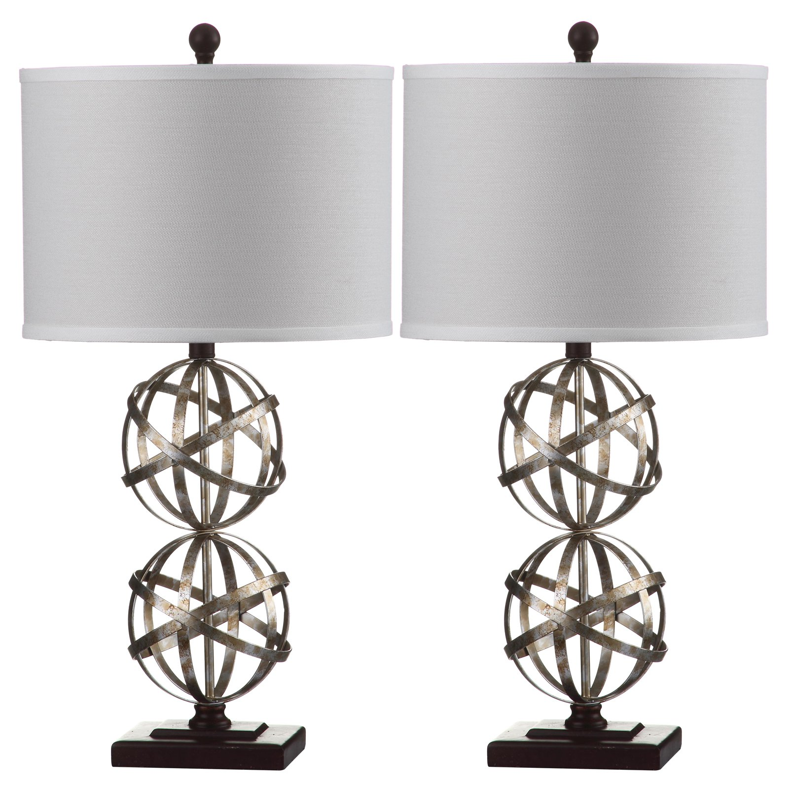 Safavieh Haley Double Sphere Table Lamp with CFL Bulb, Antique Silver with Off-White Shade, Set of 2