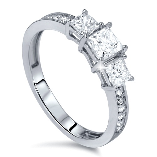 1 4ct Three Stone Princess Cut Diamond Engagement Ring 14K White Gold by Pompeii3