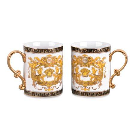 Royalty Porcelain 2-pc White Coffee or Tea Cup Mug, Medusa Greek Key, 13 oz