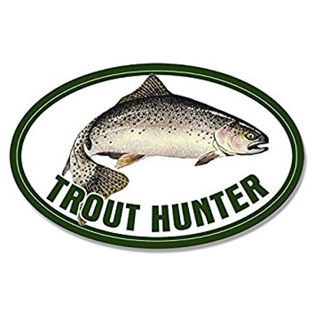 Oval TROUT HUNTER Sticker Decal (fishing fish rainbow fisher lure) Size: 3 x 5 - Rainbow Fishes