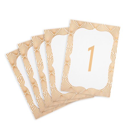 Table Number Cards (David Tutera Gold Table Number Cards: Geo, 5 x 3.5in,)