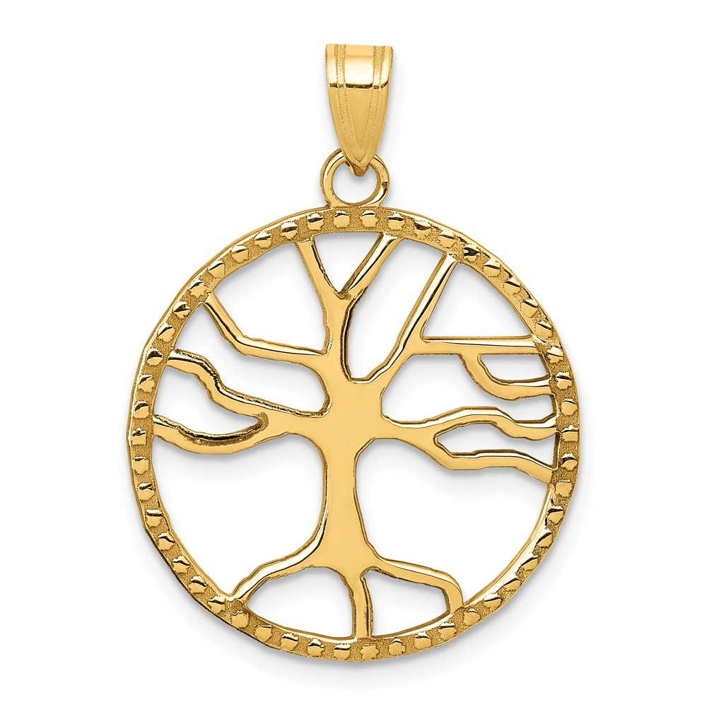14k Yellow Gold Tree of Life in Round Frame Pendant