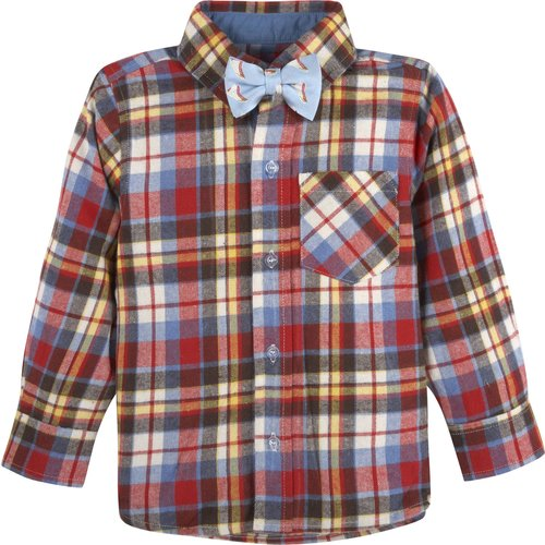 G-Cutee Boys Long Sleeve Woven Shirt with Bowtie Sets