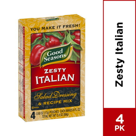 Good Seasons Zesty Italian Dry Salad Dressing and Recipe Mix, 4 ct - Packets (Good Seasons Salad Dressing Mix)