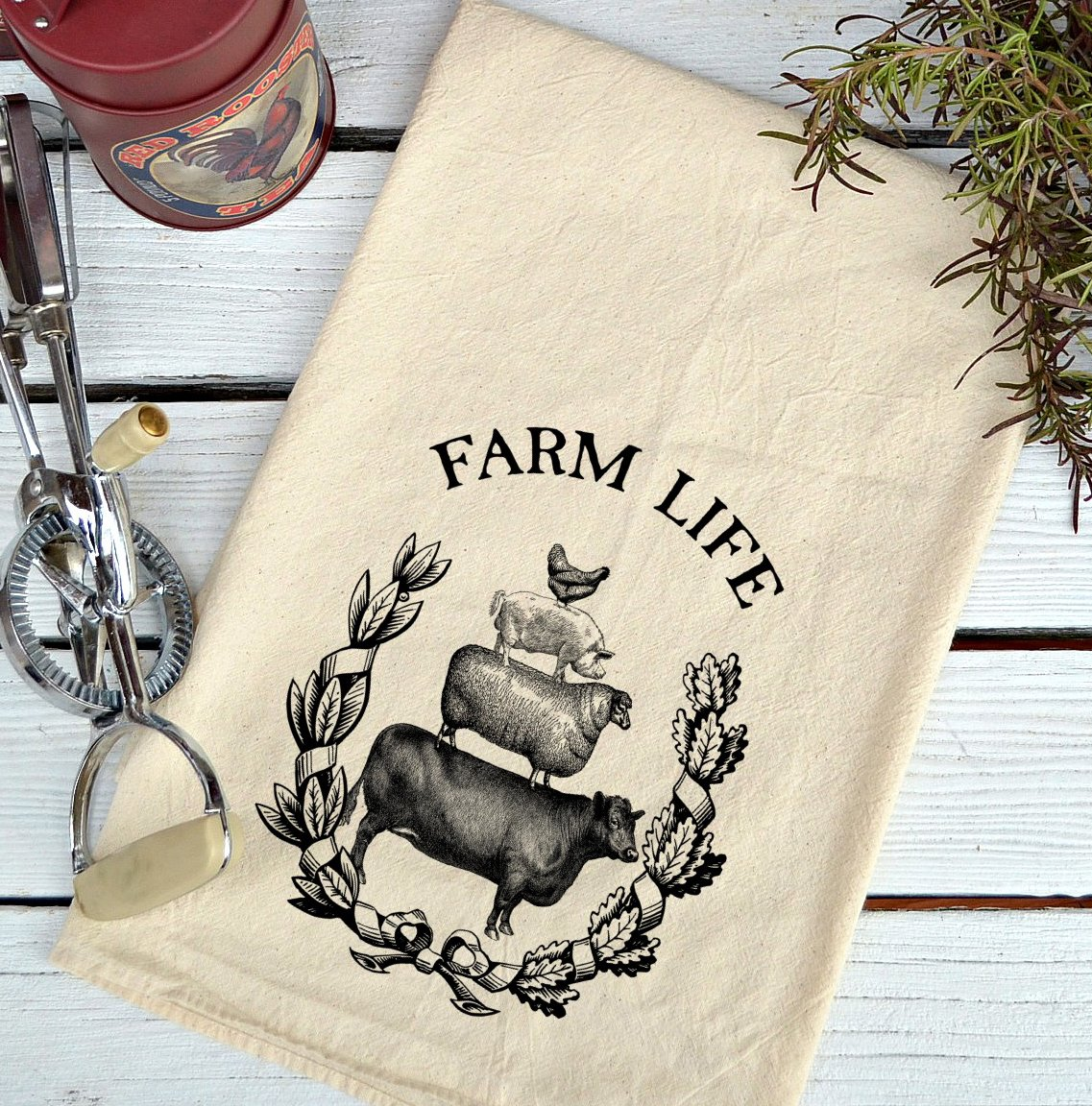 Farmhouse Natural Flour Sack Farm Life Country Kitchen Towel by