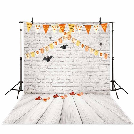GreenDecor Polyster Photography Background 5X7ft Halloween White Brick Wall Wooden Floor Backdrop Studio Photo Props for Photography](Studio Halloween Props)