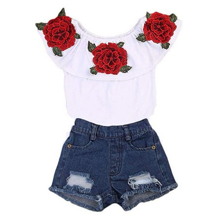Little Baby Girls Off-Shoulder Rose Flower Embrodidery Ruffle Top and Denim Shorts Summer Clothes Set - Little Girls Clothing Store