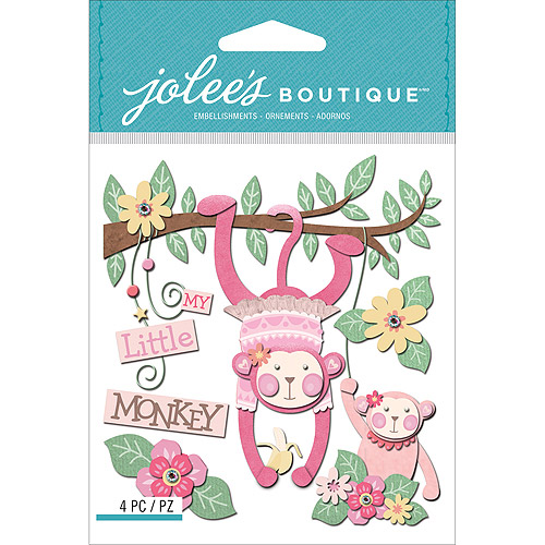 Jolee's Boutique Dimensional Stickers, Baby Girl My Little Monkey