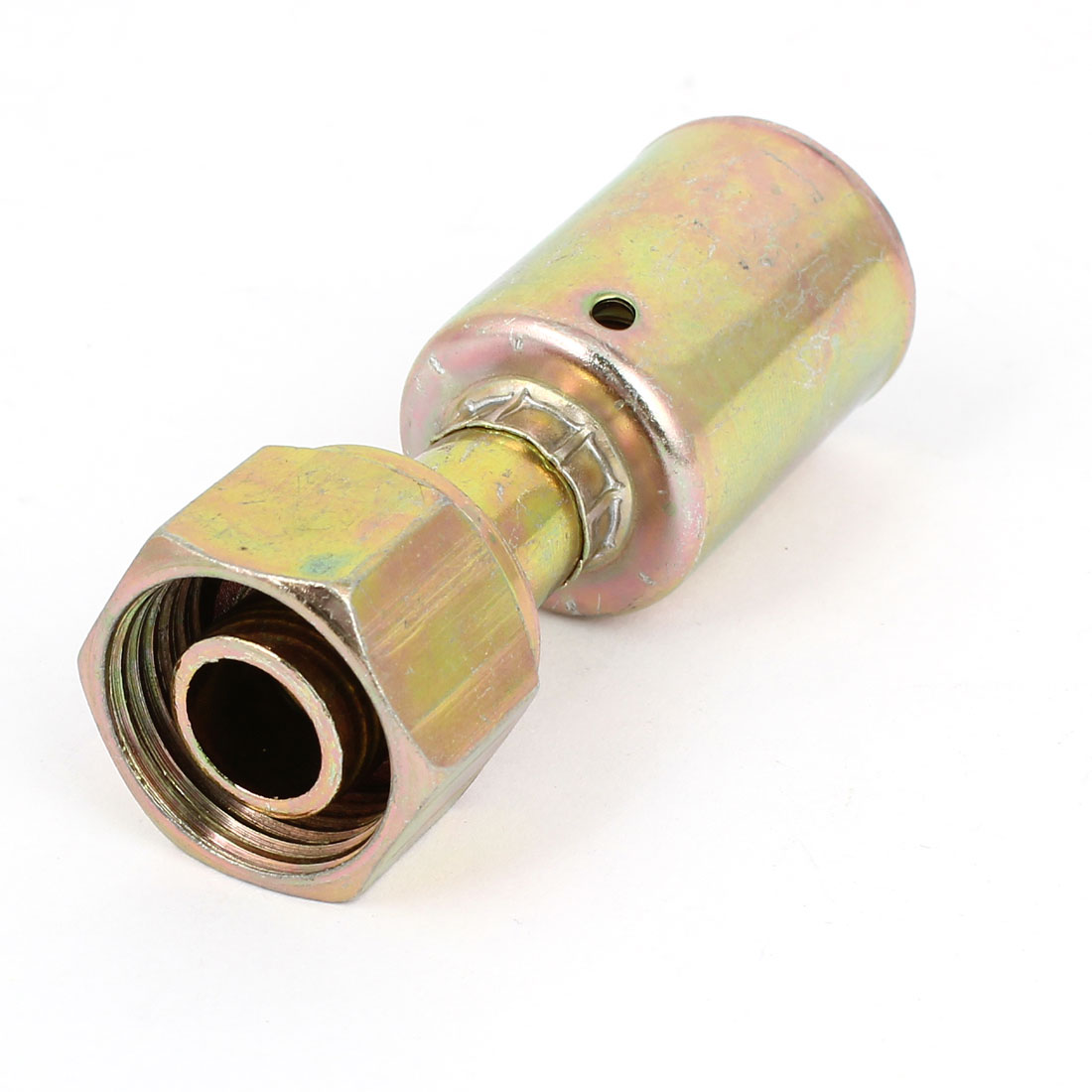 Vehicle Air Conditioning 5/8PT Thread to 9mm Straight Joint Connector Brass Tone