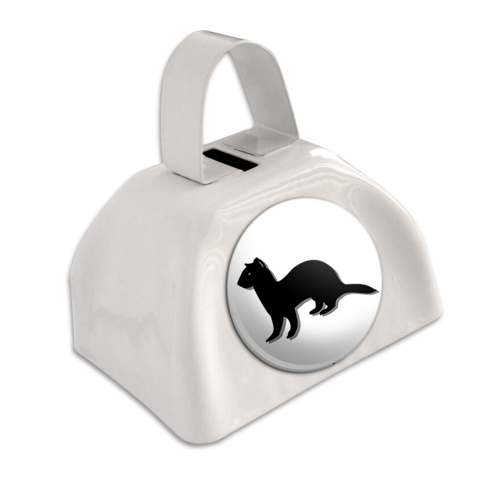 Ferret Weasel White Cowbell Cow Bell by Graphics and More