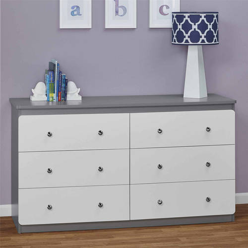 Cosco Willow Lake 6 Drawer Dresser, White/Gray