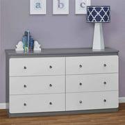 Cosco Willow Lake 6 Drawer Dresser, White/Gray