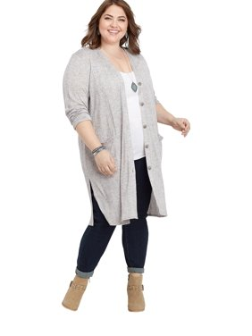 Plus Size Ribbed Button Down Duster Cardigan